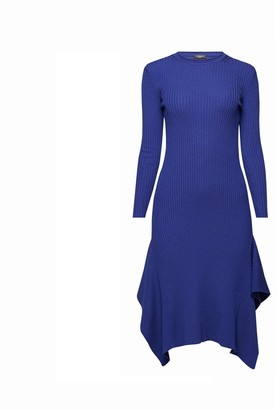 Rumour London Alexa Asymmetric Ribbed Wool Midi Dress In Royal Blue