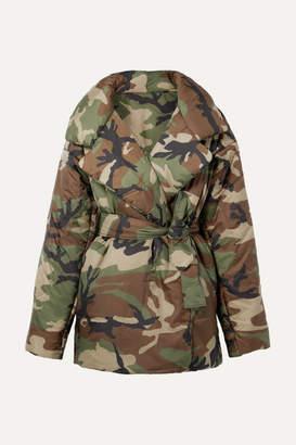 Norma Kamali Sleeping Bag Oversized Camouflage-print Shell Coat - Dark green