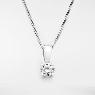 Mogul 18ct White Gold Round Brilliant Solitaire Diamond Pendant Necklace, 0.25ct