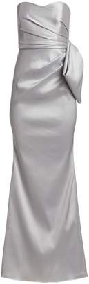 Badgley Mischka Mikado Strapless Flared Gown