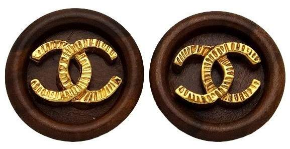 Chanel CC Logo Gold Tone Metal & Wood Round Earrings