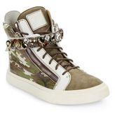 Giuseppe Zanotti Crystal-Strap Camo-Print High-Top Sneakers