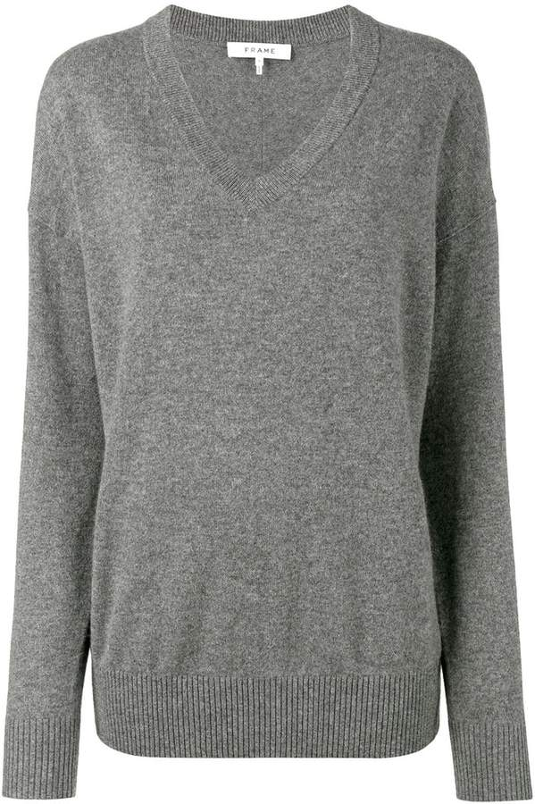 Frame Grey V-Neck Knitted Sweater