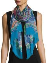 Etro Dhely Ombre Striped Paisley Silk Scarf