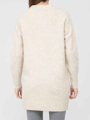 Very Longline Button Up Cardigan - Oatmeal