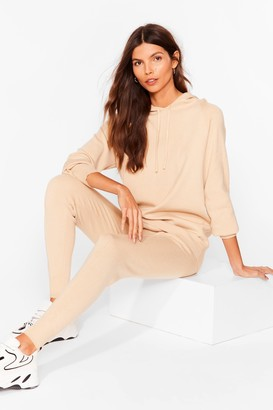 Nasty Gal Womens Leave 'Em to Knit Hoodie and Leggings Lounge Set - Stone