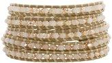Chan Luu Crystal Champagne Crystal Petal Leather Wrap Bracelet bs-3469