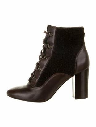 Lanvin Leather Faux Fur Trim Lace-Up Boots Brown