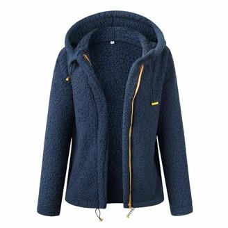 Milky Way Womens Casual Fleece Hoodies Fuzzy Sweatshirt Outerwea Open Front Coat with Pockets Thick Zipper Hood Coat (Blue S)