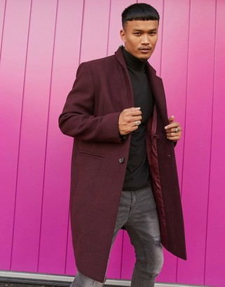 ASOS DESIGN wool mix overcoat with inverted lapel in port