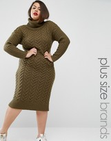 Alice & You Knitted Utility Roll Neck Midi Dress