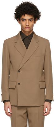 AURALEE Brown Wool Gabardine Mac Blazer