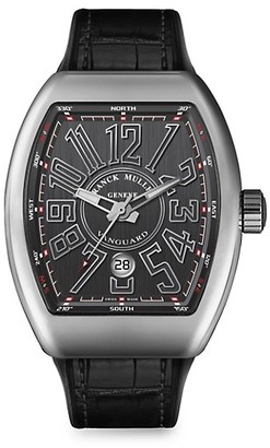 Franck Muller Vanguard Stainless Steel Croc-Embossed Leather Strap Watch