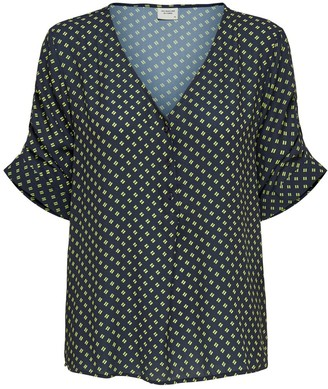 Jacqueline De Yong Printed V-Neck Blouse with 3/4 Length Sleeves