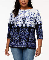 Charter Club Plus Size Scroll-Print Boat-Neck Top, Created for Macy's