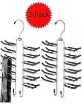 Whitmor Ebony Chrome Swivel Tie Hanger with Belt Loops - 2-Pack