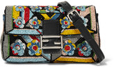 Fendi Baguette Micro Embellished Satin Shoulder Bag - Black