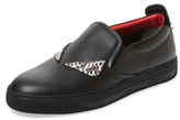 Fendi Leather Low Top Round-Toe Sneaker