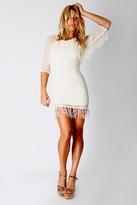 Nightcap Clothing Fringe Lace Raglan Dress in Natural