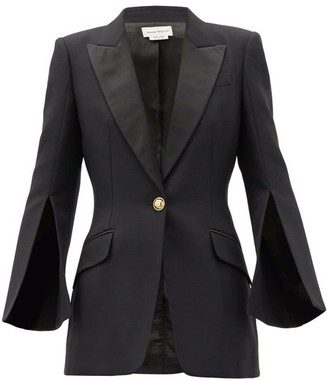 Alexander McQueen Single-breasted Silk-blend Lapel Wool-blend Jacket - Black