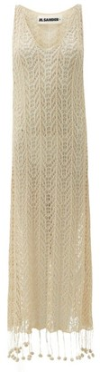 Jil Sander Pompom-hem Crochet-cotton Dress - Cream
