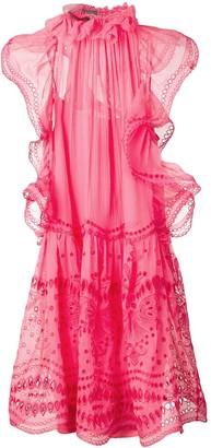 Alberta Ferretti Embroidered Flared Dress