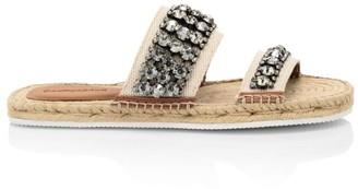 See by Chloe Kaori Flat Crystal-Embellished Espadrille Sandals
