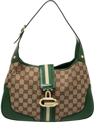 Gucci Green/Beige GG Canvas and Leather Junco Hobo