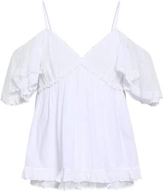 McQ Cold-shoulder Point D'esprit-trimmed Cotton Top