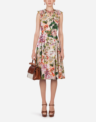 Dolce & Gabbana Poplin Midi Dress With Pink Floral Print