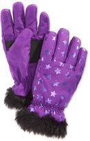 London Fog Girls' Star-Print Snow Gloves with Faux Fur Trim