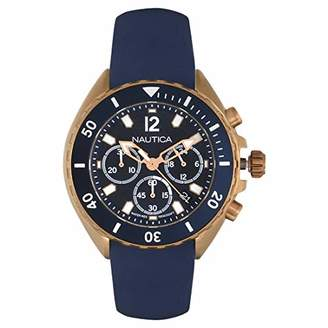 Nautica Men's New Port Stainless Steel Quartz Watch with Silicone Strap