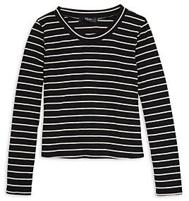 Aqua Girls' Ribbed Striped Long Sleeve Top, Big Kid - 100% Exclusive