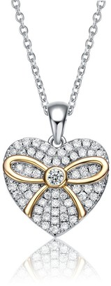 Collete Z Collette Z Sterling Silver Two Tone and Clear Cubic Zirconia Heart Necklace