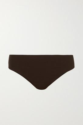 Ganni Ribbed Bikini Briefs - Dark brown