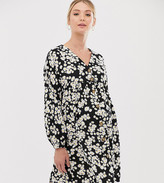 New Look Maternity button through smock dress in ditsy floral
