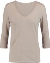 Majestic Slub linen-blend jersey top