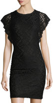 Laundry by Shelli Segal Flutter-Sleeve Lace Dress, Black