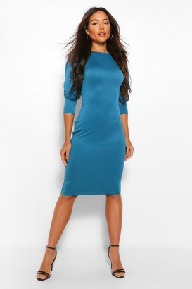 boohoo Puff Crop Sleeve Bodycon Midi Dress