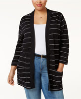 Karen Scott Plus Size Striped Open-Front Cardigan, Only at Macy's
