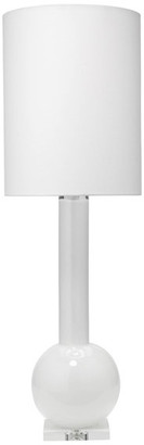 Jamie Young Studio Table Lamp, White Glass With Tall Thin Drum Shade, White Linen