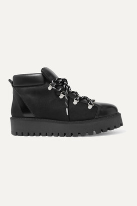 Ganni Alma Leather And Suede Ankle Boots - Black