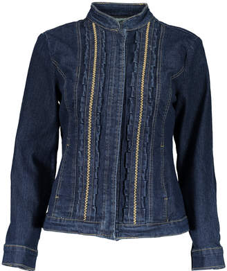 Live A Little Women's Denim Jackets Jean - Dark Denim Ruffle-Accent Jean Jacket - Women