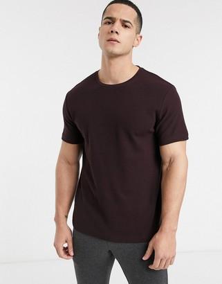 Burton Menswear waffle t-shirt in burgundy-Green