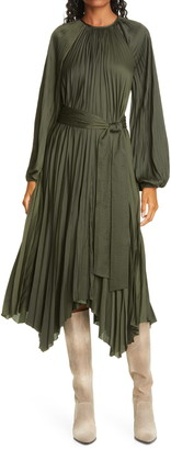 Ulla Johnson Yalena Long Balloon Sleeve Pleated Dress