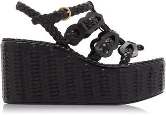 Prada Women's Woven Platform Sandals - Black - Moda Operandi