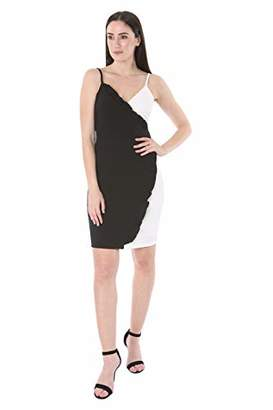 Bebe Women's Camisole Ruffle Trim Faux Wrap Dress