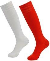 3street Unisex Vintage Knee High Solid Football Team Tube Socks White 6 Pairs