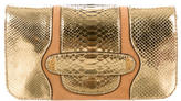 Marc Jacobs Suede-Accented Metallic Python Clutch