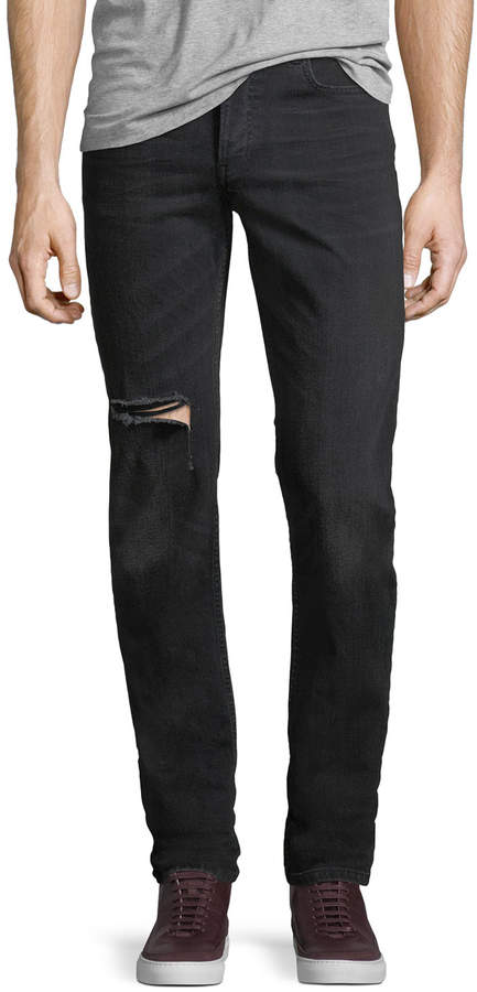 Balenciaga Japanese Denim Straight-Leg Distressed Jeans